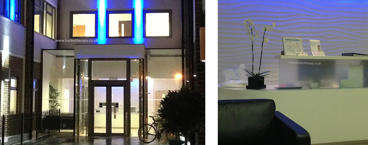 External and Internal View of Harley Therapy - Psychotherapy and Counselling City of London Practice