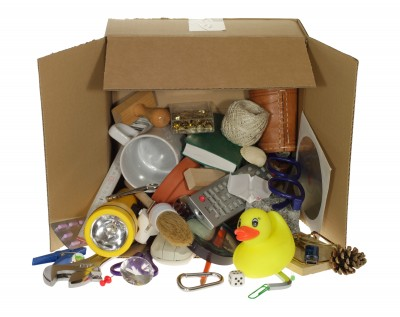 Box showing hoarders junk